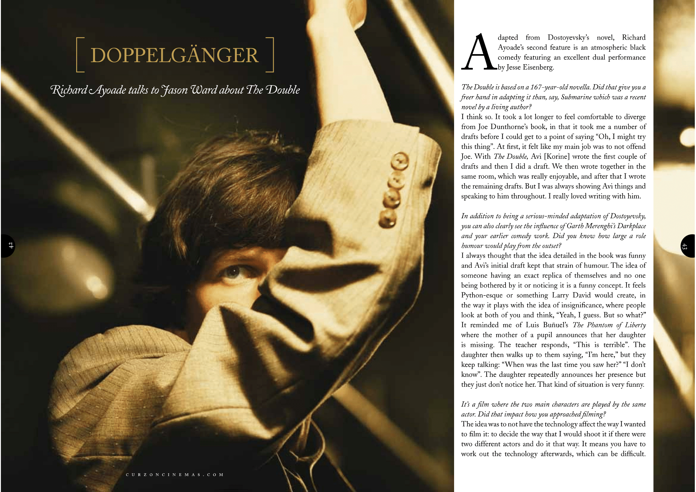 Richard Ayoade (The Double) interview / Curzon Magazine