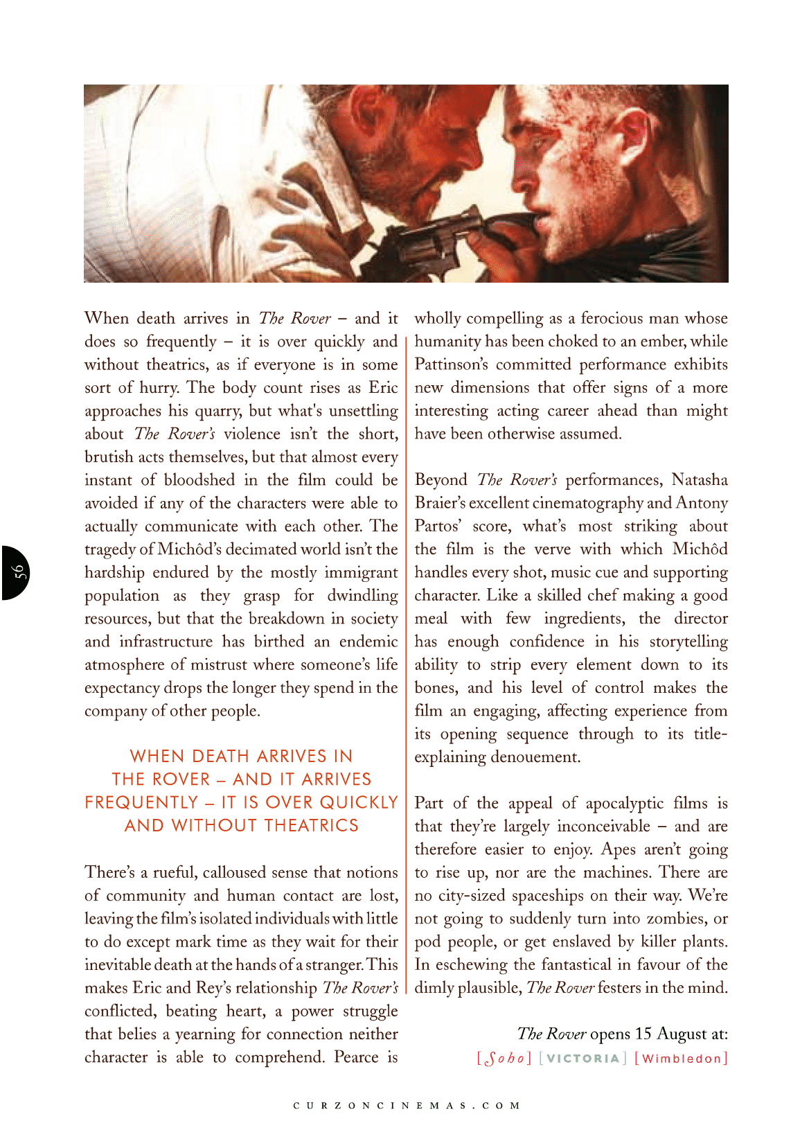 Curzon Magazine feature on The Rover (2014), starring Guy Pearce and Robert Pattinson, directed by David Michôd.