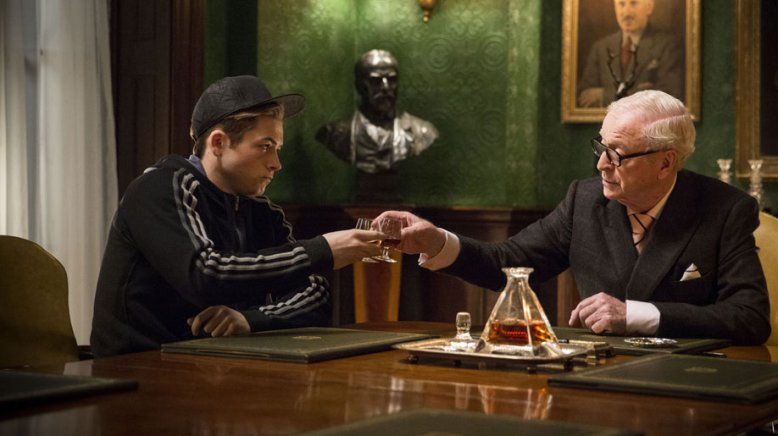 Michael Caine and Taron Egerton in Kingsman: The Secret Service (2015), directed by Matthew Vaughn.
